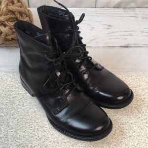 Born Orlene Black Burnished Leather Ankle Boots
